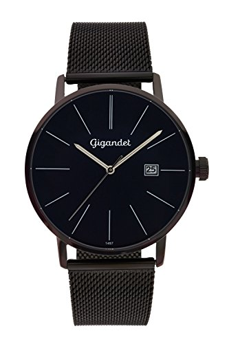 Gigandet Men's Quartz Watch Minimalism Analog Stainless Steel Bracelet Black Blue G42-015