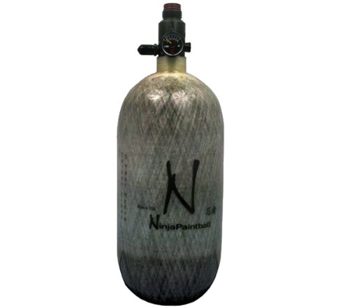 Ninja Grey Ghost Carbon Fiber Air Tank w/ Adjustable Regulator - 90/4500 (Best Carbon Fiber Paintball Tank)