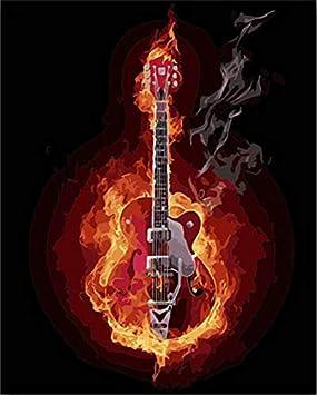 GVNEO Pintura por Numeros DIY Coloring S Guitarra Eléctrica Quemada por Fuego con Kits(40X50Cm Senza Sin Marco): Amazon.es: Juguetes y juegos
