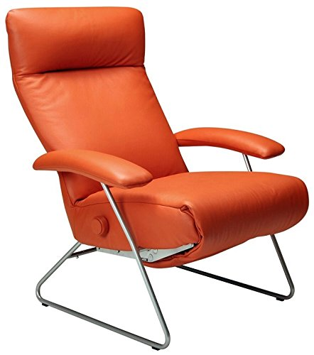 Superbe Demi Recliner Chair Orange Leather Lafer Recliner Chairs