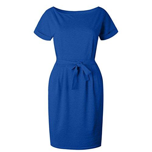 HARRYSTORE Kurzarm Pure Color Pocket Bow Gürtel Kleid Damen Casual ...