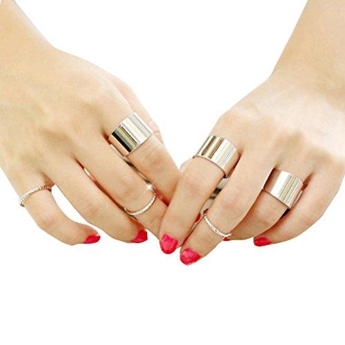 Blank K Fashion Finger Midi Ring Set Plain Stacking Finger Joint Midi Ring Set (Silver) -