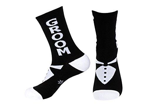 Groom Socks (Unisex-Adult Groom Wedding Party Black And White Crew Socks - Groom)