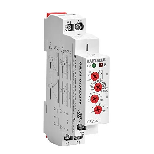 GAEYAELE GRV8-01 Single Phase Voltage Relay Adjustable Over or Under Voltage Protection Monitor Relay with LED display(GRV8-01,AD48) ()