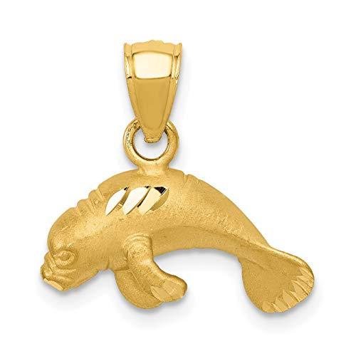 Mireval 14k Yellow Gold Manatee Pendant (16 x 17 mm)