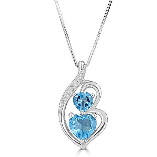 Blue Topaz Heart Necklace in Sterling Silver with Diamond Accent ()