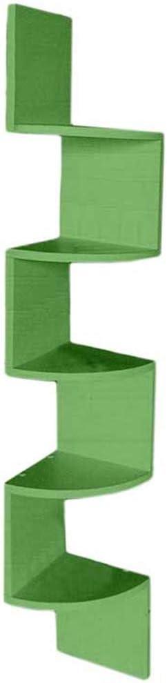 Verde BAKAJI Libreria Scaffale Mensole da Parete Angolare Design Moderno in Legno Melaminico con 5 Ripiani ad Angolo Dimensioni 123 x 20 cm