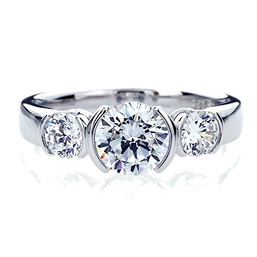 Platinum Plated Sterling Silver 1.5ct Round CZ Half Bezel Three Stone Anniversary Ring ( Size 5 to 9 ), 6 - 3 Stone Half Bezel