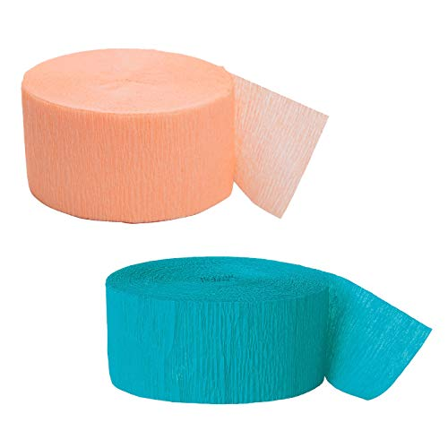 81ft Teal Crepe Paper Streamers Bundled with 81ft Coral Crepe Paper Streamers -