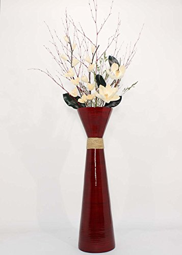 GreenFloralCrafts 36 in.Plantation RED Bamboo Floor Vase - & Cream White Magnolias Floral Kit (Requires Assembly)