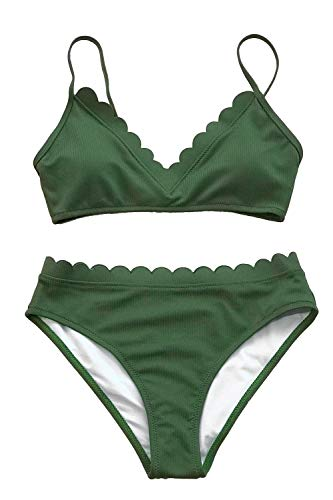 - CUPSHE Women's Scalloped Trim in The Moment Bikini Medium Green