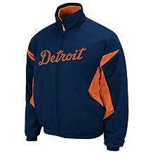 MLB Youth Detroit Tigers Triple Peak Premier Pro Navy/Pro Orange Long Sleeve Full Zip Insulated Jacket By Majestic (Pro