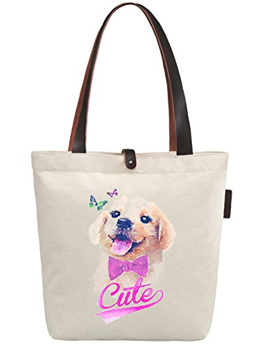 So'each Women's Animal Cute Dog Art Graphic Canvas Handbag Tote Shoulder Bag