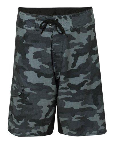 Burnside Mens Camo-Diamond Dobby Board Shorts-B9371-36-Black Camo