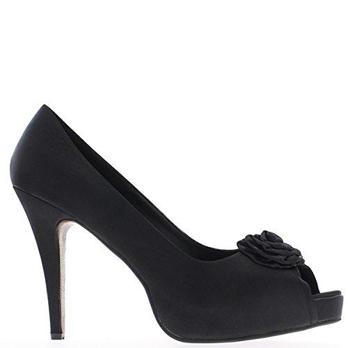 Grande aprire toe scarpe dimensioni nera raso tacco 13cm