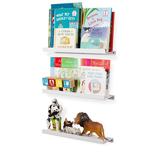 Wallniture Kids Floating Bookshelves - Nursery Room Décor Bookcase Display Metal Ledges White 17 Inch Set of 3