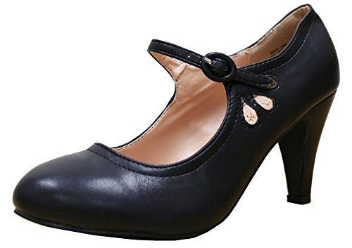 Cambridge Select Women's Round Toe Mid Heel Mary Jane Dress Pump (7 B(M) US, Black) (Mary Black Jane Womens)