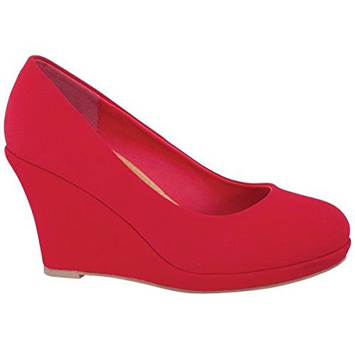 Fashion-shoes Womens Mid Heel Wedge Almond Toe Pump Wedges Red KlvJvwr
