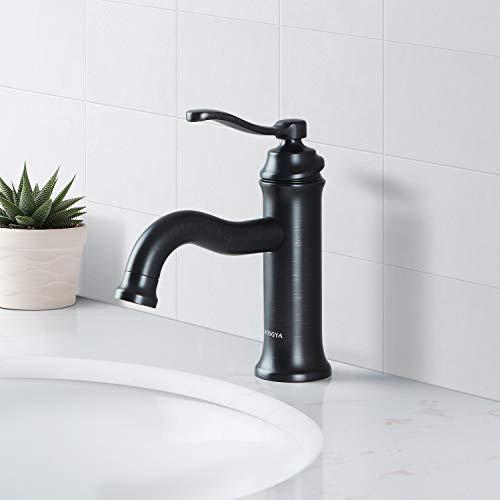 AOSGYA Bathroom Faucet Matte Black - Antique Single-Handle Bathroom Sink Faucets One Hole for Lavatory Vanity Basin, cUPC Certified Lead-Free