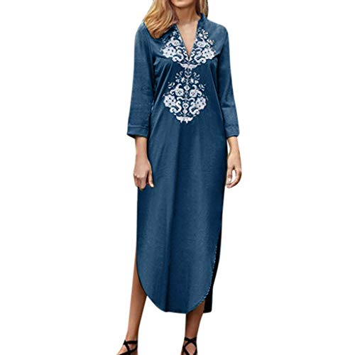 (【MOHOLL】 Women Slit Up Long Dress - Lace Slit Long Sleeve Dress Autumn Casual Loose V Neck Slit Up Maxi Dress Blue)