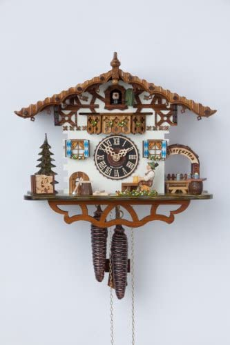 German Cuckoo Clock 1-day-movement Chalet-Style 10.00 inch – Authentic black forest cuckoo clock by H nes