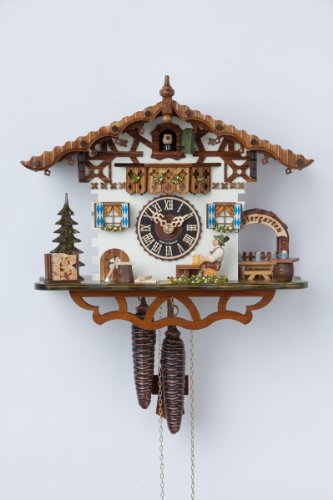 German Cuckoo Clock 1-day-movement Chalet-Style 10.00 inch - Authentic black forest cuckoo clock by Hönes