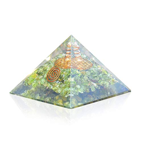 Lens Ion Crystal - Orgone Pyramid - Flower Of Life Orgone Energy Peridot Copper Pyramid- Healing Crystals for EMF Protection Soul with Inner Psychic Sense-Vivid Dreams