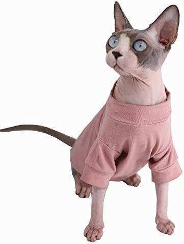 Sphynx Hairless Cat Cotton Tshirts Pet Clothes, Pullover Kitten T-Shirts with Sleeves, Cats & Small Dogs Apparel Solid Color 18