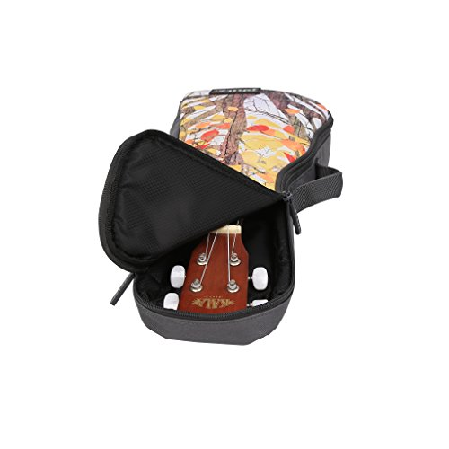 Concert Ukulele Case—Padded, Soft Carrying Gig Bag with Large Back Strap, Comfortably Tote and Protect your Uke On-The-Go, Yellow Leaves by Phitz by Phitz (Image #2)