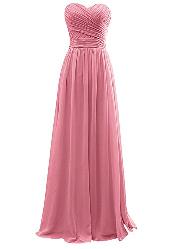 Ever Girl Women's Bridesmaid Chiffon Prom Dresses Long Evening Gowns Dusty Rose S10