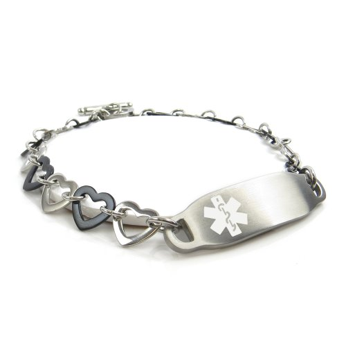 MyIDDr - Pre-Engraved & Customizable Multiple Sclerosis Women's Medical Alert Bracelet Steel/Black Hearts, White