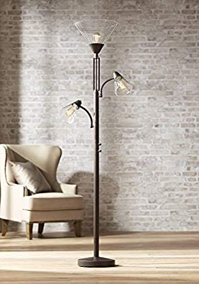 Warwick Industrial Torchiere Lamp Tree Tiger Bronze Seedy Glass Dimmable LED Edison Bulbs for Living Room Reading - Franklin Iron Works