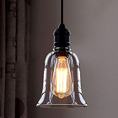 "Industrial Vintage Retro Single Light Mini Pendant Light - LITFAD 5.5"" Pendant Lamp Ceiling Light Chandelier with Clear Bell Glass Shade"