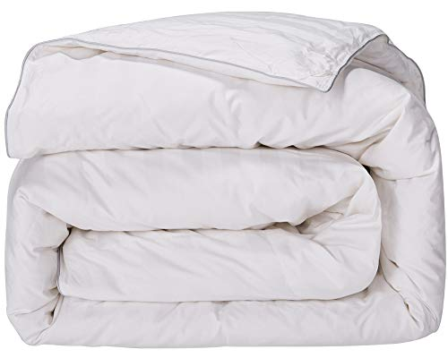 puredown All Season Down Comforter Stripe White 100% Cotton Shell 500 Thread Count 800 Fill Power, Cal King