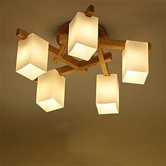 BRIGHTLLT Einfache Holz- LAMPE LED logs Wohnzimmer Decke lampen Licht Holz,  Schlafzimmer Lampen, 9*h 9 mm