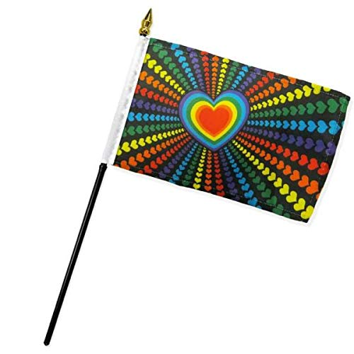 - Ant Enterprise Pack of 12 (Dozen) Rainbow Love Hearts Miniature Desk & Table Flag Includes 12 Polyester Small Mini Stick Flags (4