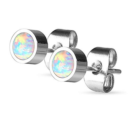 Pair of Round Opal Bezel Set 316L Stainless Steel Stud Earrings (created opal) - Choose Size (5mm Opal)