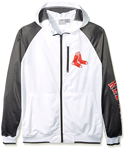MLB Boston Red Sox Men's Full Zip Tricot Logo Sleeve Track Jacket with Wordmark, 2X/Tall, White/Charcoal (Boston Sox Jacket Red Red)