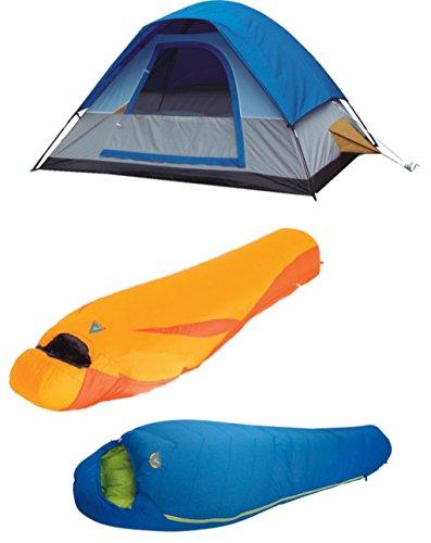 High Peak USA Alpinizmo Magadi 5 Tent + Latitude 20F And Summit 0F Sleeping Bags Combo, Blue/Orange, One Size by Alpinizmo