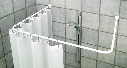 Bastone Per Tenda Vasca Da Bagno Angolare : Asta angolare per doccia universale bianca inclusi ganci per