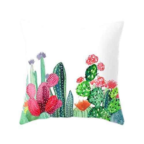 Pegcduu Cactus Suculentas Poliéster patrón de la Funda de ...
