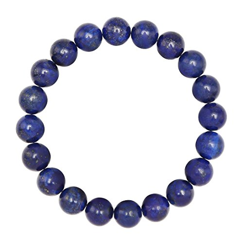 BRCbeads Gemstone Bracelets Blue Lapis Enhance Color Natural Gemstone Birthstone Handmade Healing Power Crystal Beads Elastic Stretch 10mm 7.5 Inch with Gift Box Unisex