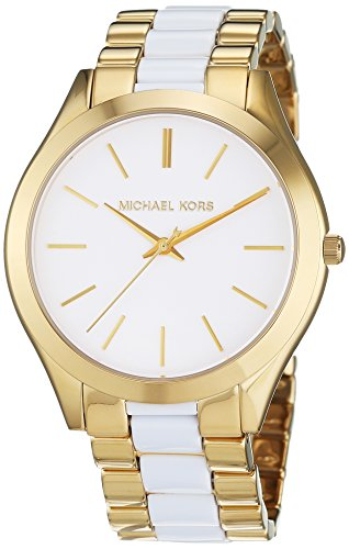 Michael Kors Slim Runway White Dial Stainless Steel Quartz Ladies Watch MK4295