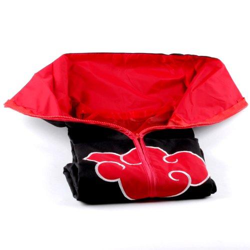 Cool Blood Red Costume Akatsuki Uchiha Itachi Cosplay Coat Red Cloud Cloak (XL)