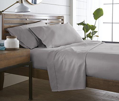 500 TC, 100 % Long Staple Ultrafine cotton, Luxury Bedding, Hotel Collection, fits mattress up to 16 inch, Solid Sateen Weave , 4 Sheet Set Pleated Hem (Queen, Grey Silver) ()