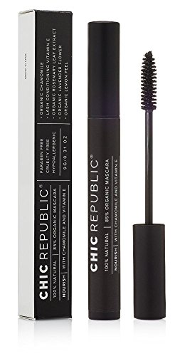 All Natural Organic Mascara - 100% Natural - Non Toxic, Safe for Sensitive Eyes, Hypoallergenic - Long Lasting, No Flaking or Smudging - MADE IN USA - Black, Washable, Conditioning, Healthy by CHIC REPUBLIC