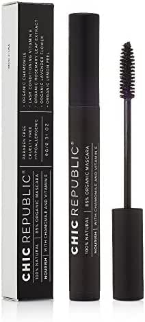All Natural Organic Mascara - Non Toxic, Safe for Sensitive Eyes, Hypoallergenic - Long Lasting, No Flaking or Smudging - MADE IN USA - Black - Water Resistant and Washable