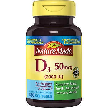 Nature Made Vitamin D3 2000iu 320 Ct. Soft Gels
