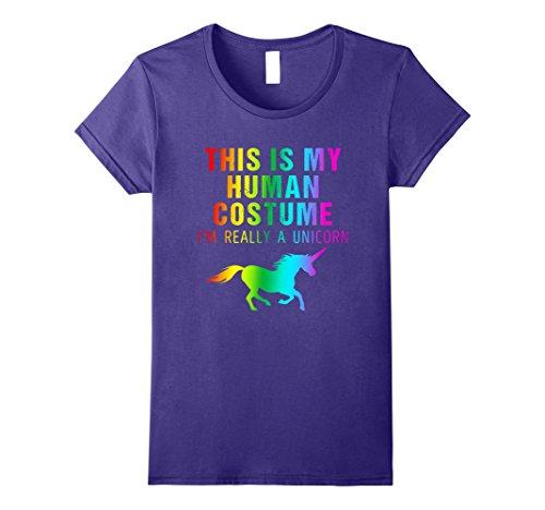 Costume Minute Diy Unicorn Last (Womens I'm Really a Unicorn Costume Halloween Shirt Cute Rainbow Small)
