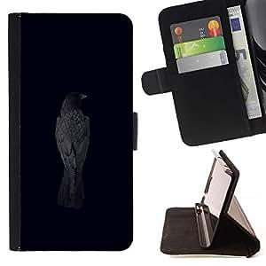 For HTC One M8 Case , Cuervo Cuervo Negro Pájaro metal minimalista- la tarjeta de Crédito Slots PU Funda de cuero Monedero caso cubierta de piel
